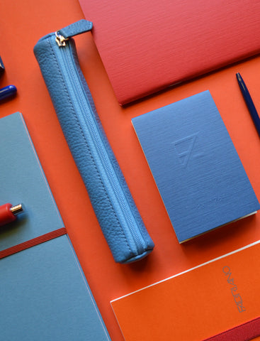 The Blue Leather Pencil Case