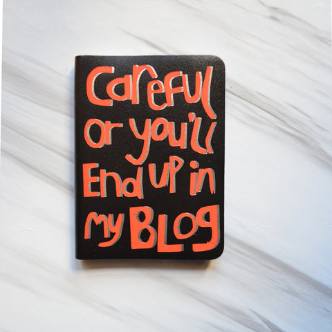 'Careful' Journal in black leather & metallic
