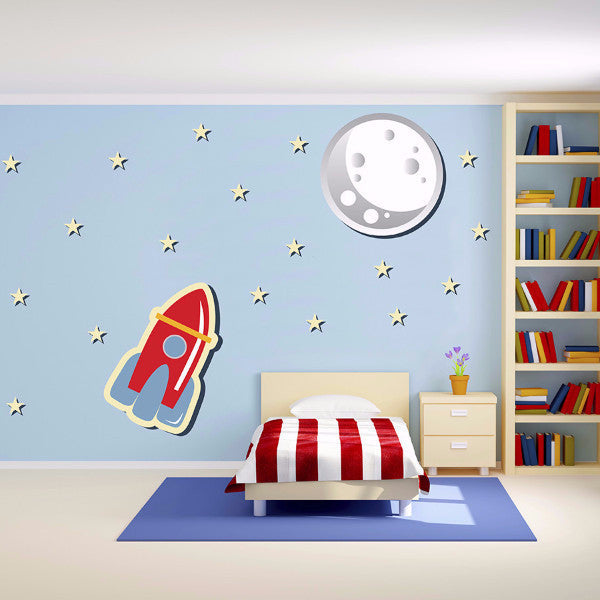 """To the Moon"" Starship Set - Wall Decal"