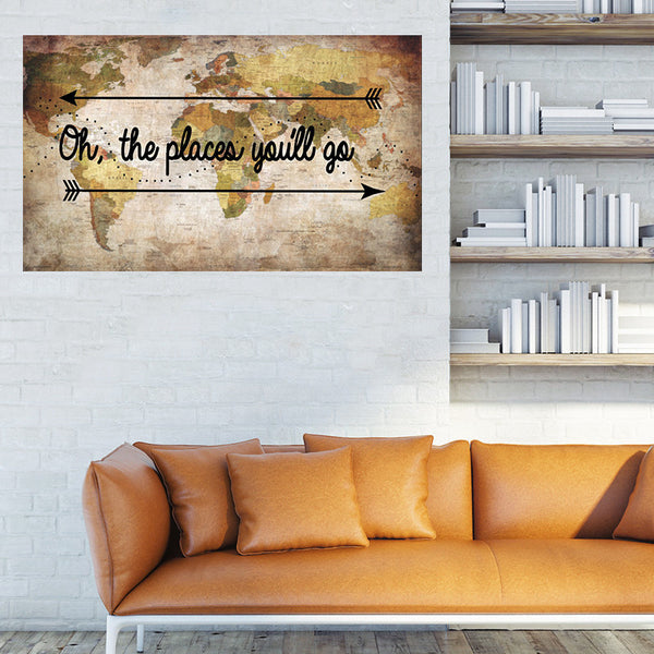 Oh, The Places You'll Go (Poster) - Wall Words Decal