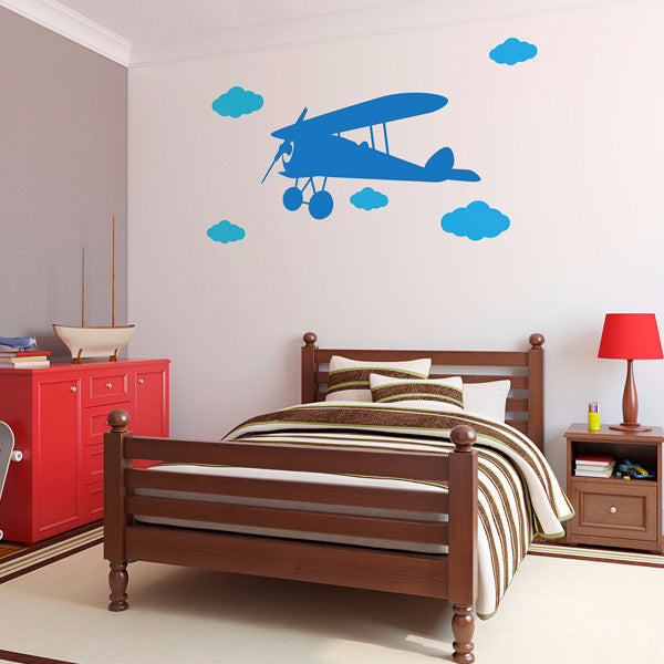 Airplane with Clouds Set - Wall Decal