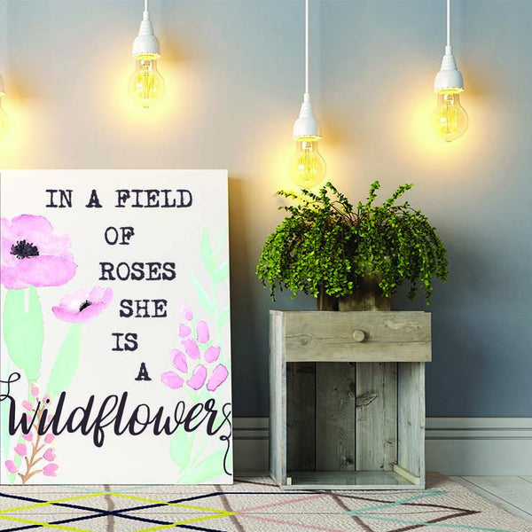 She Is A Wildflower - Canvas Print