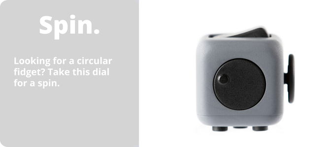Spin all you want; this side of the fidget cube has dial for everybody to spin all day