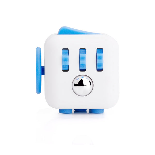 White and Blue Fidget Cube Gears and Ball Button; Buy the best quality fidget cubes available in India; Best price guaranteed