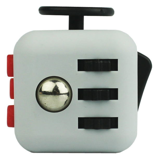 Grey and Red Fidget Cube Gears and Ball Button; Buy the best quality fidget cubes available in India; Best price guaranteed