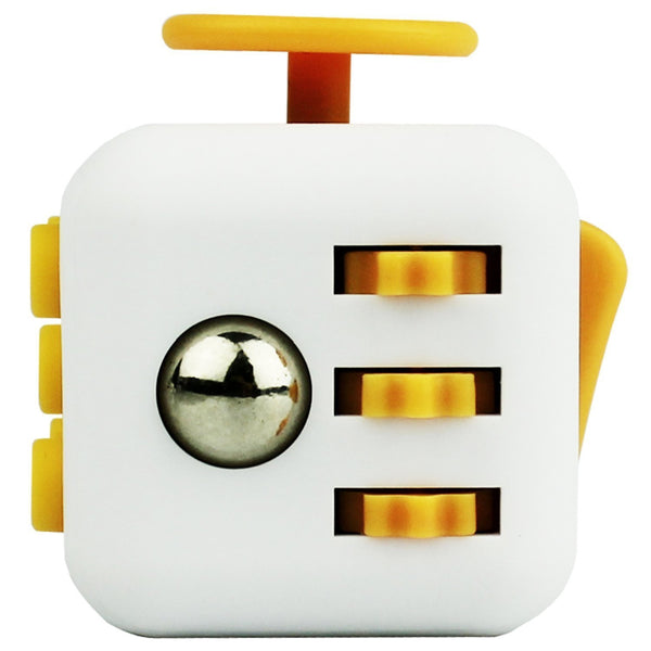 White and Yellow Fidget Cube Gears and Ball Button; Buy the best quality fidget cubes available in India; Best price guaranteed