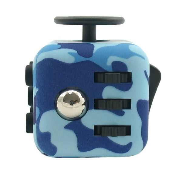 Blue Camouflage Fidget Cube Gears and Ball Button; Buy the best quality fidget cubes available in India; Best price guaranteed