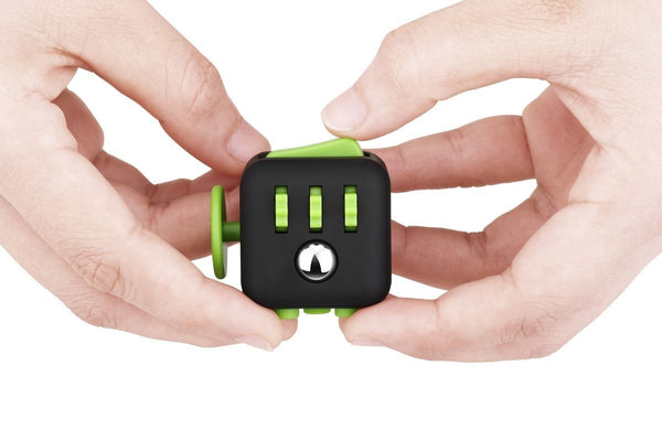Black and Green Fidget Cube in action; Buy the best quality fidget cubes available in India; Best price guaranteed