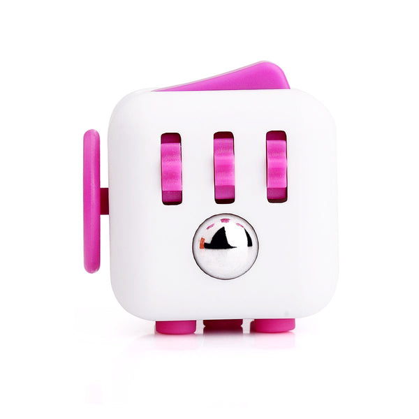 White and Pink Fidget Cube Gears and Ball Button; Buy the best quality fidget cubes available in India; Best price guaranteed