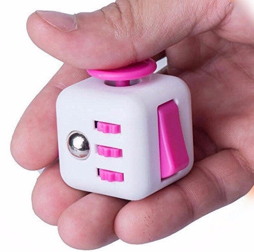 White and Pink Fidget Cube in action; Buy the best quality fidget cubes available in India; Best price guaranteed