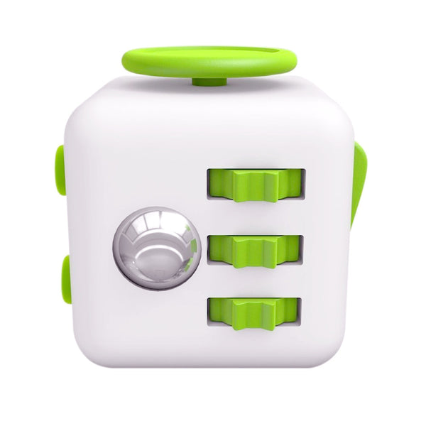 White and Green Fidget Cube Gears and Ball Button; Buy the best quality fidget cubes available in India; Best price guaranteed