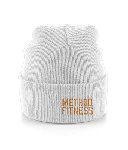 Cuffed Beanie Orange Logo - Method Fitness Apparel
