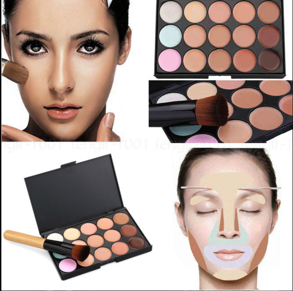 Face Contour Kit: Concealer Foundation 15 Colour Make-Up Cream Palette with Cosmetic Brush - Nur76
