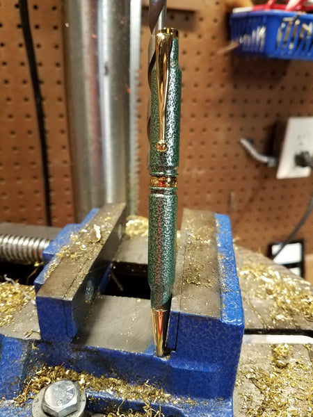 308 Green/Silver Vein Powder Coated Pen