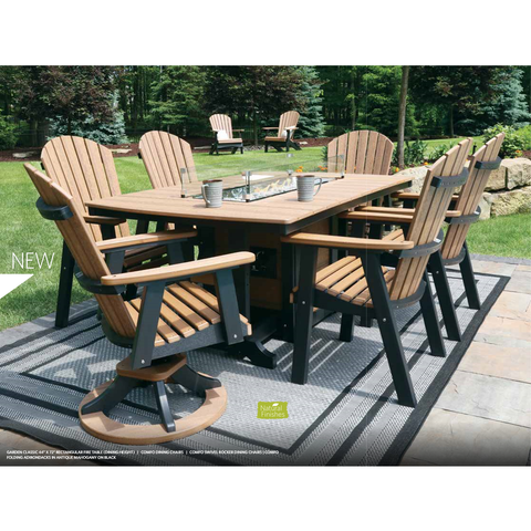 Berlin Gardens Adirondack 7pc Fire Pit Dining Set