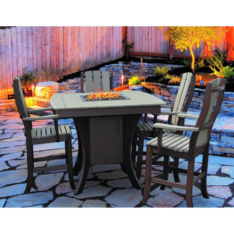 QW Amish 5pc Paradise Pub Fire Table Set OPST-PARADISE424236-5SET