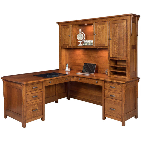 QW Amish Boston L-Shape Desk with Optional Hutch