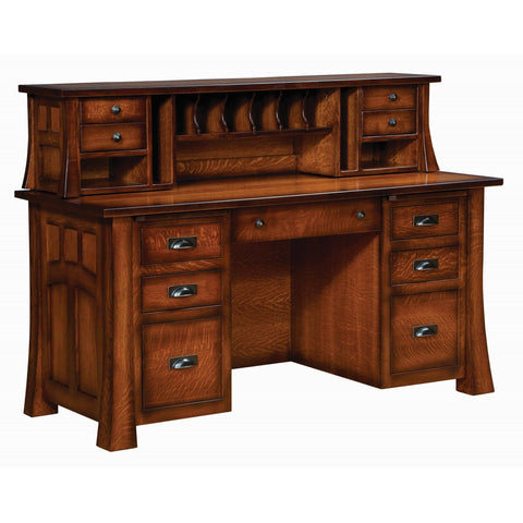 QW Amish Bridgefort Executive Desk with Topper