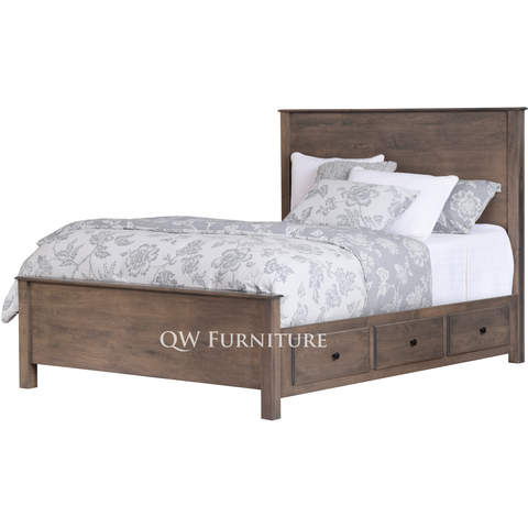 QW Amish Lodge Panel 6 Drawer Storage Bed