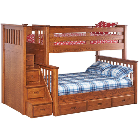 QW Amish Miller's Mission Twin/Full Bunk with Trundle Storage and Storage Steps