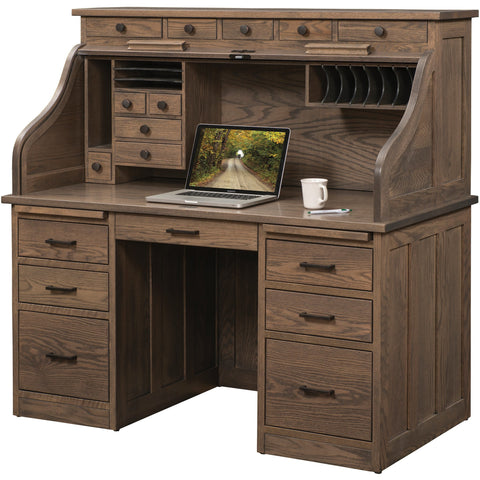 "QW Amish Mission 56"" Roll-Top Desk"