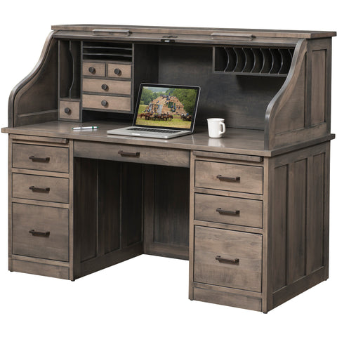 "QW Amish Mission 62"" Roll-Top Desk"