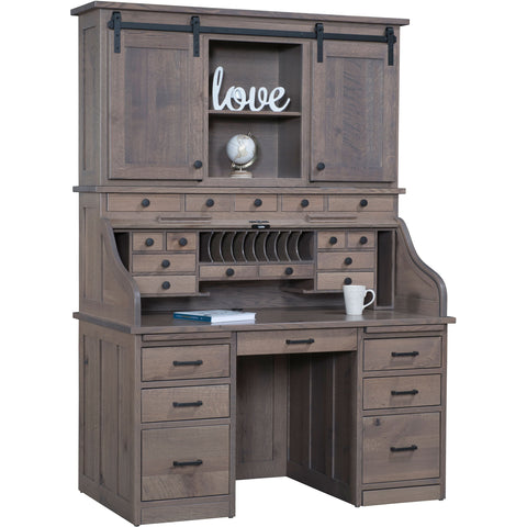 QW Amish Mission Roll-Top Desk with Optional Hutch