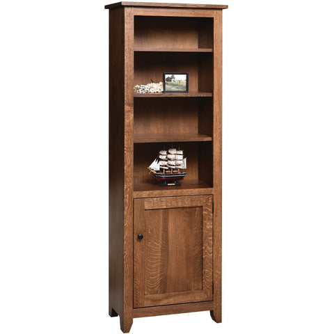 "QW Amish Modern Mission Bookcase with Door 24""x72"""