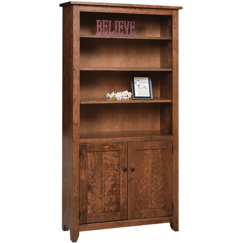 "QW Amish Modern Mission Bookcase with Doors 36""x72"""
