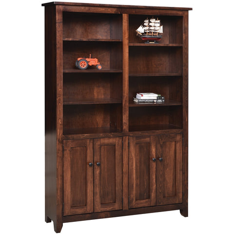"QW Amish Modern Mission Bookcase with Doors 48""x72"""