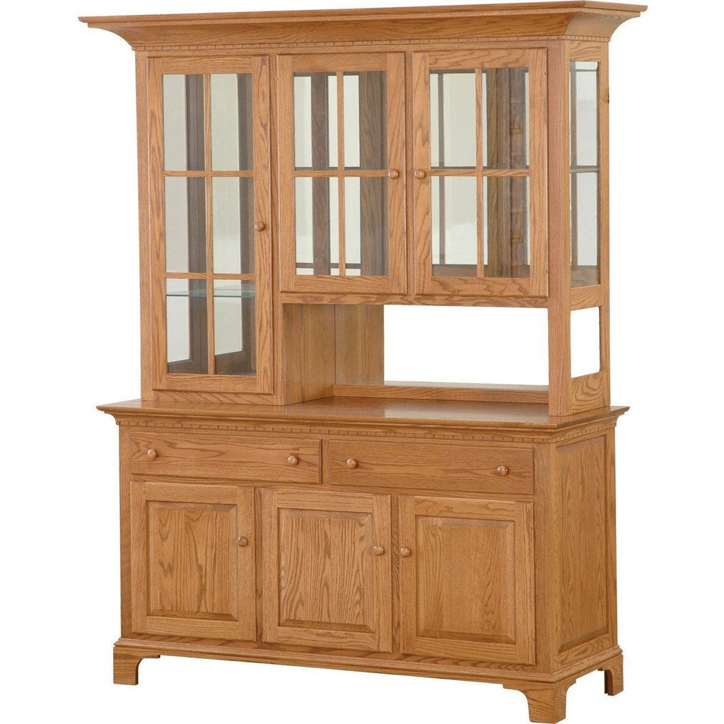 QW Amish NBS Shaker 3 Door Hutch & Buffet w/ Mirrored Back PXIA-00720074NBS402DOORSMIRRORED