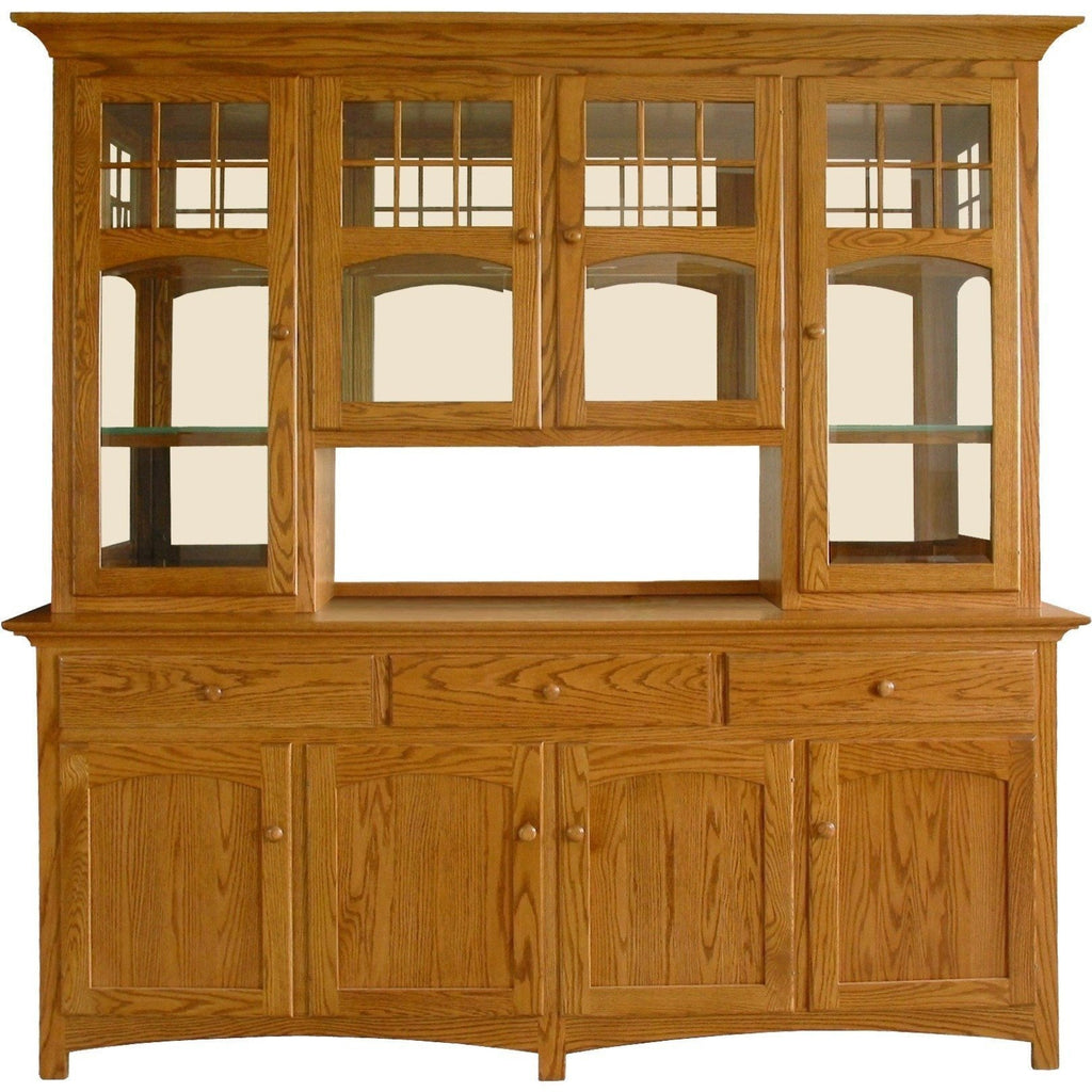 QW Amish NBW 4 Door Hutch & Buffet w/ Mirrored Back PXIA-00020001MIRRORED