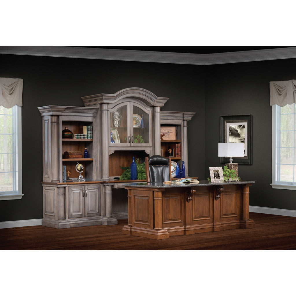 QW Amish Paris Office Collection - Executive Desk with 4 Piece Credenza & Hutch DWIC-PARIS2PC