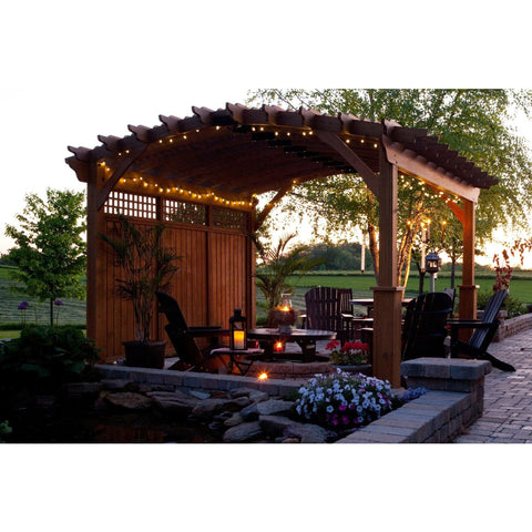 Riviera Wood Pergola Collection with Privacy Walls - 14' x 14 BG:RIVIERAWALLS1414