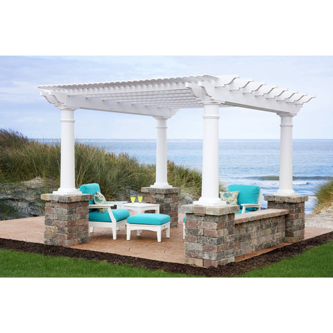 Urbana Vinyl Pergola Collection with Round Posts - 12' x 12' BG:URBANAROUNDPOSTS1212