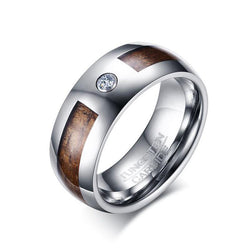 Vnox 8mm Wood Tungsten Carbide Engagement Ring High Polished Men's Wedding Bands with Cubic Zirconia Jewelry