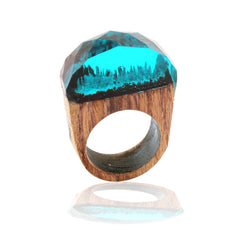 Handmade Wood Resin Ring with Fantasy Secret Landscape - Blue