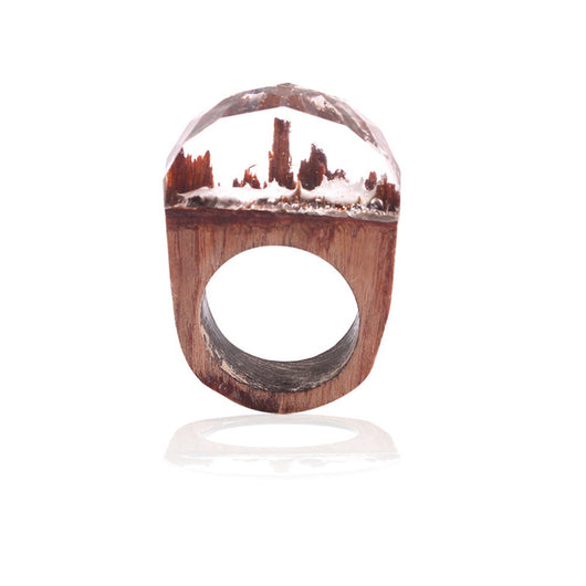 Handmade Wood Resin Ring with Fantasy Secret Landscape - clear