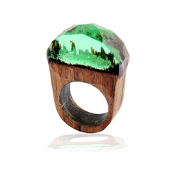 Handmade Wood Resin Ring with Tiny Green Secret Landscape