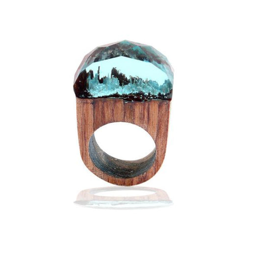 Handmade Wood Resin Ring with Fantasy Secret Landscape - Sky Blue