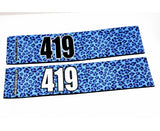 Number Arm Bands Deluxe- Leopard Print Blue