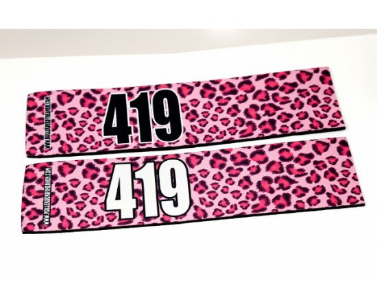Number Arm Bands Deluxe- Leopard Print Pink