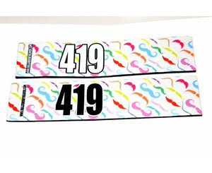 Number Arm Bands Deluxe- Mustache White