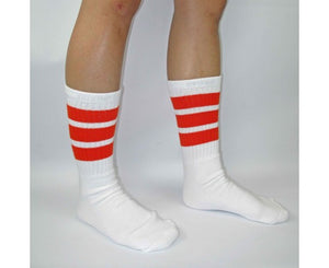 "Skater Socks 19"" Knee High White w/ Orange"
