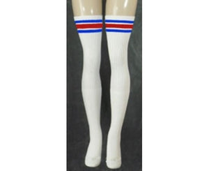 "Skater Socks 35"" Thigh High White w/ Royal & Red"
