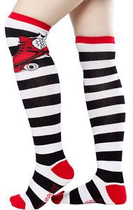 Sourpuss Skate Black Red Knee High Socks
