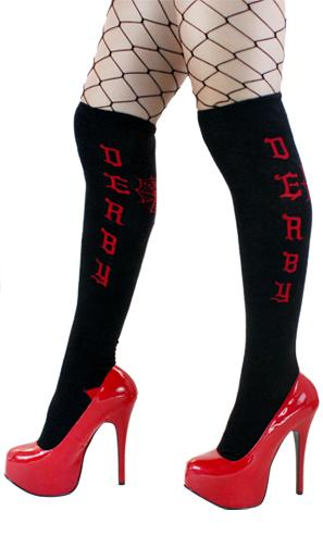 Sourpuss Roller Derby Black Red Thigh High Socks