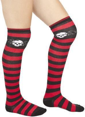 Sourpuss Bat Skull Thigh High Socks