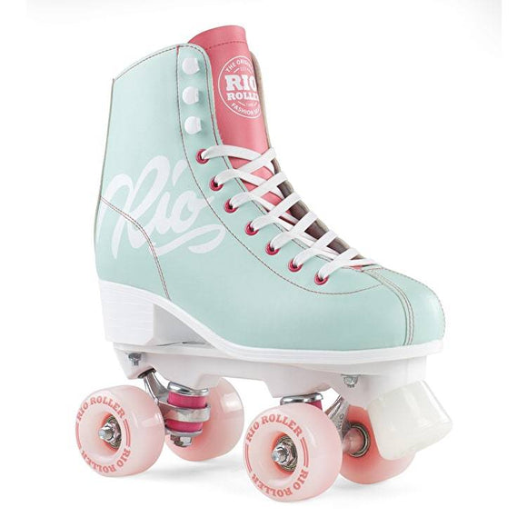 Rio Roller Script Roller Skates Teal and Coral