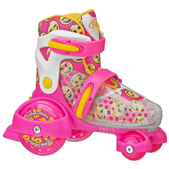 RDS Fun Roll Girls Pink/Yellow Adjustable Roller Skates